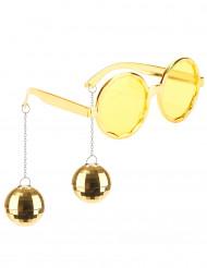 Guldfarvede Disco-briller voksen