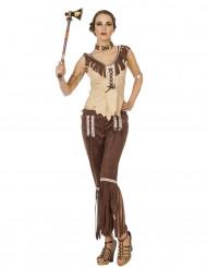 Beige og brun indianerkostume til kvinder