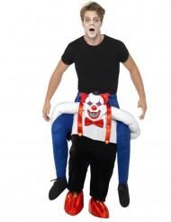 Kostume ridende på skræmmende klovns ryg voksen Halloween