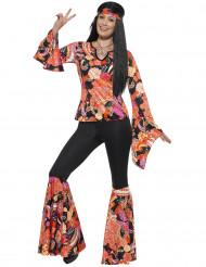 Kostume hippie sort og flerfarvet til kvinder