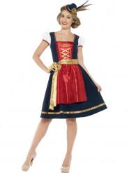 Traditionelt blåt oktoberfest kvinde kostume