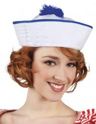 Hat matros hvid pompon blå til kvinder