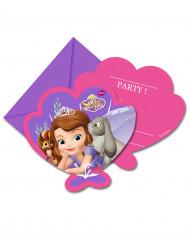 6 Invitationskort med kuverter prinsesse sofia™