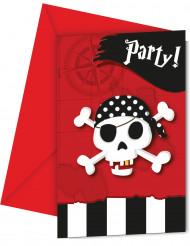 6 pirat invitationskort med skattekortskuvert