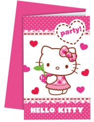 6 Invitationskort med kuvert Hello Kitty™