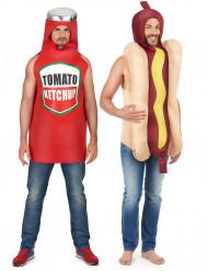 Parkostume hot dog og ketchup voksen