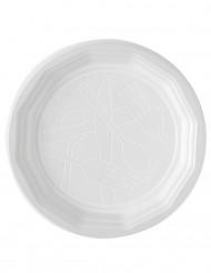 100 Hvide plastiktallerkener 20 cm