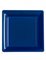12 kvadratiske marineblå tallerkener