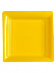 12 kvadratiske gule tallerkener