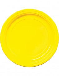 30 gule plastiktallerkener 22 cm