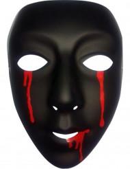 Maske Halloween sort med tårer af blod til kvinder