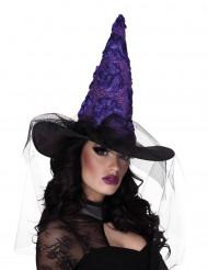 Hat heks sort og violet til kvinder Halloween
