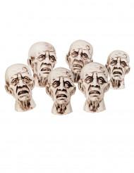 6 små zombiehoveder 8x5 cm Halloween