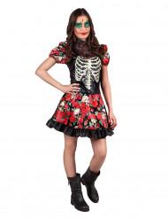 Kostume skelet med roser teenager Día de los muertos