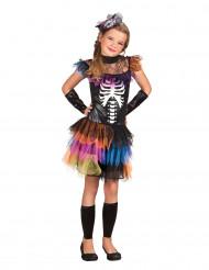 Skeletkostume med farverigt tylskørt halloween pige
