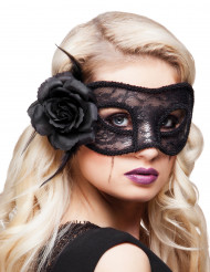 Blonde maske sort med rose til kvinder