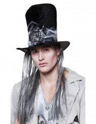 Højhat skelet med hår til voksne Halloween