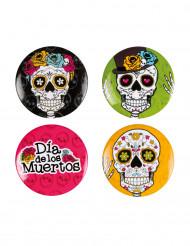 Dia de los Muertos badge 4 stk