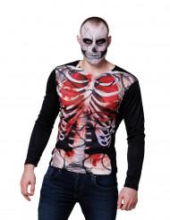 Langærmet t-shirt blodigt skelet voksen Halloween