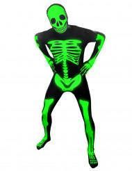 Skeletkostume i neon Morphsuits™ barn