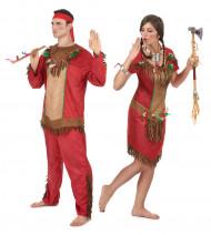 Rødt indianer parkostume til voksne