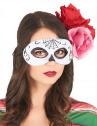 Maske Day of the Dead sort og hvid voksen