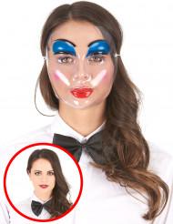 Gennemsigtig maske med blå sminke