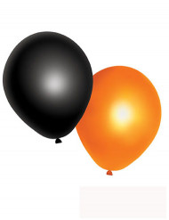 10 Balloner orange og sorte Halloween