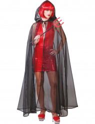 Kappe gennemsigtig sort Halloween voksen