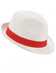Hvid borsalinohat med rødt bånd