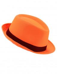 Orange borsalinohat med sort bånd