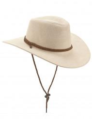 Cowboyhat af beigefarvet imiteret ruskind
