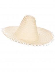 Beigefarvet sombrero med pomponer langs skyggen til voksne