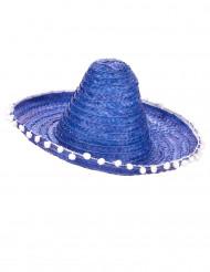 Blå sombrero med pomponer til voksne
