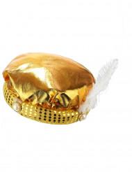 Guldfarvet sultan-turban til voksne