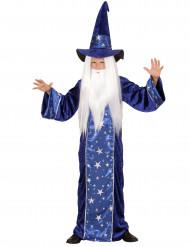 Blå troldmandsdragt med stjerner børn