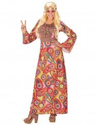Farverigt hippiekostume lang kjole voksen
