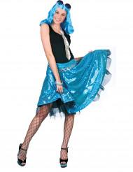 Blå disko-nederdel med palietter kvinde