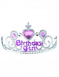 Diadem Birthday girl sølv og lyserødt