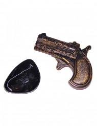Minipistol i plastic med øjeklap pirat til voksne