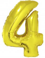 Ballon aluminium kæmpe 4 tal guldfarvet