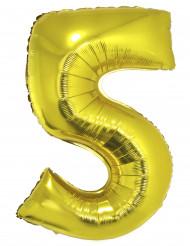 Ballon aluminium kæmpe 5 tal guldfarvet
