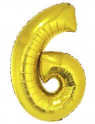 Ballon aluminium kæmpe 6 tal guldfarvet