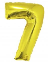 Ballon aluminium kæmpe 7 tal i guld 1 meter