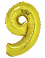 Ballon aluminium kæmpe 9 tal i guld 1 meter