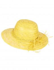 Vintage gul stråhat dame