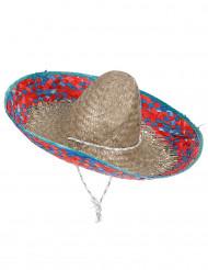 Mexicansk sombrero med rød og blå skygge mand