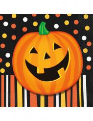 16 servietter med smilende Halloween græskar