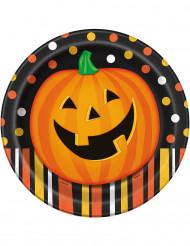 8 tallerkener i pap med halloween græskar 23 cm