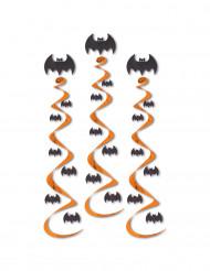 3 Halloween spiraler med flagermus til ophæng